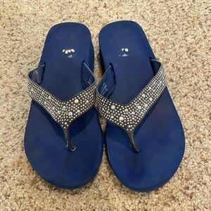 Women's Navy Blue Yellow Box sandals